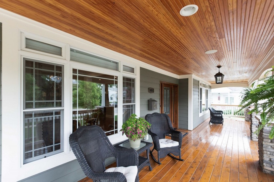 A beautiful front porch with wood trim.