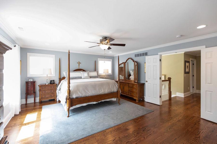 Master bedroom suite with double doors.