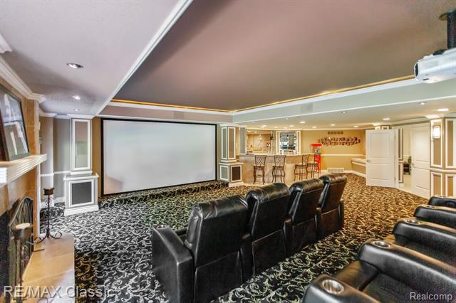 The private home theater at 13055 Mystic Forest Drive.