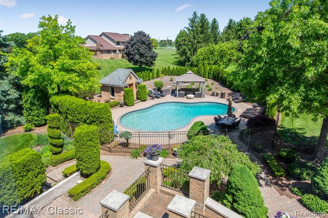 The sparkling pool at 13055 Mystic Forest Drive.
