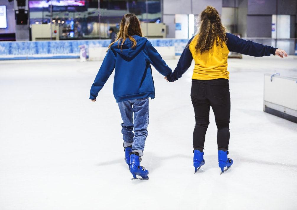 Ice skating at a holiday event.